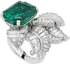 Van Cleef & Arpels Canopée ring with emeralds and diamonds Emerald Jewelry, High Jewelry, Luxury Jewelry, Turquoise Jewelry, Jewelry Stores, Diamond Jewelry, Gold Jewellery, Designer Jewellery, Silver Jewelry