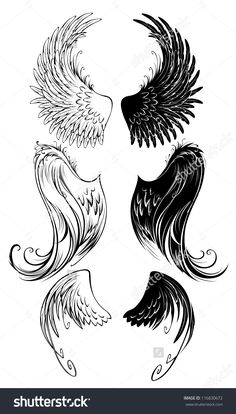 Buy Stylized Angel Wings by on GraphicRiver. Artistically painted angel wings on a white background. AI, PSD and JPEG files are included in archive. Wings Drawing, Angel Drawing, Forearm Tattoos, Body Art Tattoos, Tatoo Angel, Angel Clipart, Tattoo Bauch, Wing Tattoo Designs, Tatoo Art