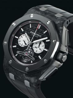 For 2014 Audemars Piguet releases a new Royal Oak Offshore Automatic Tourbillon watch with a visible peripheral automatic rotor on the dial. Audemars Piguet Diver, Audemars Piguet Gold, Audemars Piguet Watches, Fancy Watches, Luxury Watches For Men, Cool Watches, Men's Watches, Royal Oak Offshore Chronograph, Skeleton Watches