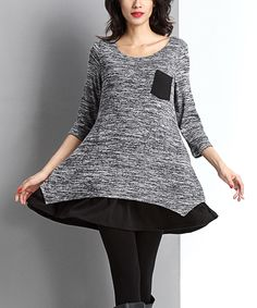 Look at this #zulilyfind! Charcoal Melange Layered Pocket Dress by Reborn Collection #zulilyfinds