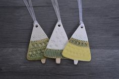 A set of three hanging ceramic trees. Perfect for bringing nature into your home at any time of year. Handmade in a gorgeous rustic stoneware clay these trees are decorated with interesting textures and glazes. They have a simple natural Scandinavian feel Christmas Clay, Christmas Makes, Handmade Christmas, Christmas Tree Ornaments, Ceramic Christmas Decorations, Xmas Decorations, Salt Dough Decorations, Ceramic Christmas Trees, Clay Ornaments