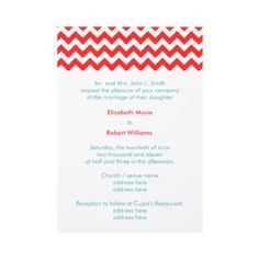 Turquoise and Coral Chevron Wedding Invitation by Sweet Iced Tea - with a more elegant font