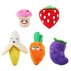 UEETEK Squeaky Dog Toys for Small Dogs Fruits and Vegetables Plush Puppy Dog Toys A pack of 5 ** undefined #DogToys