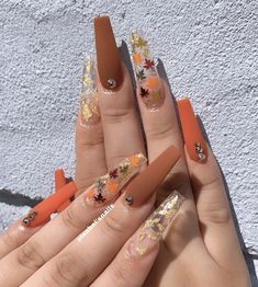 You deserve the most fabulous nails this season! Checkout some of these AMAZING nail designs to give you the type of Fall nail inspiration you absolutely NEED Nails These are giving us D: Halloween Acrylic Nails, Fall Acrylic Nails, Ballerina Acrylic Nails, Acrylic Nail Art, Aycrlic Nails, Swag Nails, Manicure, Grunge Nails, Bling Nails