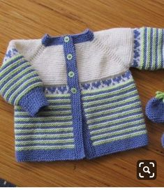 Here's the German translation - Baby Cardi Kraus rechts gestrickt, courtesy of Susanne. Knitting Baby Girl, Baby Cardigan Knitting Pattern Free, Crochet Baby Sweaters, Baby Sweater Patterns, Baby Girl Sweaters, Knitted Poncho, Knitting For Kids, Baby Knitting Patterns, Baby Patterns