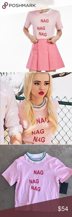 """New UNIF Nag Nag Nag Pink Tee New with tags and in perfect condition! Super cute """"Nag"""" tee with retro stretch crew neck. Size small. UNIF Tops Tees - Short Sleeve"""