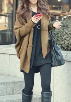 Black, black, black with brown sweater. Oooo yeah