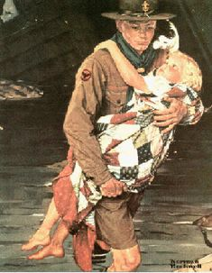 A Scout is Helpful   | by Norman Rockwell, NRM Web Store