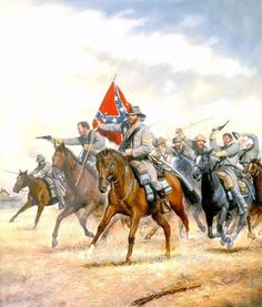 Confederate cavalry with the battle flag of the Confederacy gallop into battle. The battle flag was also known as the Southern Cross.