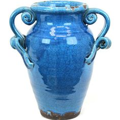 Ceramic Tuscan Vase with 2 handles in Craquelure Gloss