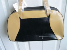Large Black and Tan Handbag Faux Leather  NWT #FashionForward #ShoulderBag
