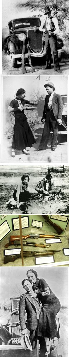 "Bonnie Parker & Clyde Barrow Everybody wants to romanticize this tragic story..(our inner Gangster/Outlaw maybe?) But just remember; there's a lot of pics of them shot to a million pieces, too. Parents: Don't mislead your kids into thinking Bonnie&Clyde was a Romance Story. -""dOk"""