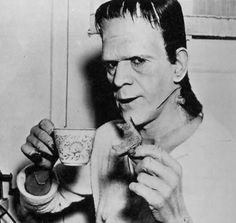 Boris Karloff, tea time for Frankenstein.