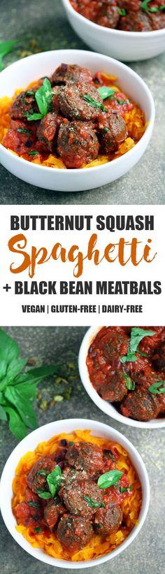 Butternut Squash Spaghetti with Black Bean 'Meatballs' - UK Health Blog - Nadia's Healthy Kitchen