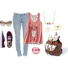 owl tank top skinny jeans aviators dark red maroon classic vans gold jewelry lace accented backpack blossom dkny