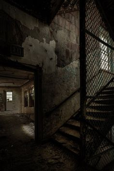 Stairs and Corridor, Abandoned Asylum Urban Exploration, HDR, Fine Art Color Photography Print, Free Abandoned Asylums, Abandoned Buildings, Abandoned Places, Urban Aesthetic, City Aesthetic, Scary Places, Haunted Places, Real Haunted Houses, Building Aesthetic
