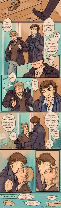 johnlock. cute kiss