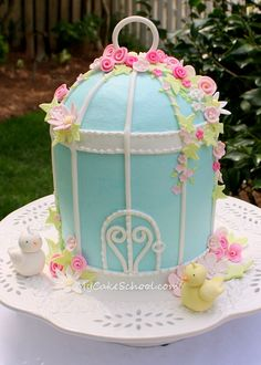 Birdcage Cake from a recent MyCakeSchool.com video.  Buttercream with fondant accents ;0)