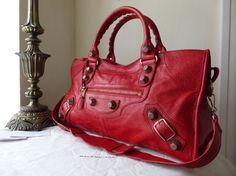 55e49914ecc Balenciaga Giant Part Time in Coquelicot Lambskin with Rose Gold Hardware  > http:/