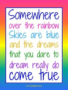 Words to Live by Wednesdays: Dreams Really DO come TRUE! - {FREE} colourful and inspirational poster for your classroom! www.teachingrocks.ca
