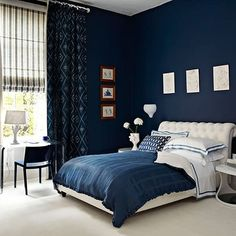 Wonderful Blue Bedroom Paint Colors throughout Best Blue Paint Colors For Bedrooms Girls Bedroom Colors Blue Paint Dark Blue Bedrooms, Blue Master Bedroom, Navy Bedrooms, Blue Bedroom Decor, Blue Rooms, Master Bedroom Design, Home Bedroom, Blue Walls, Bedroom Designs