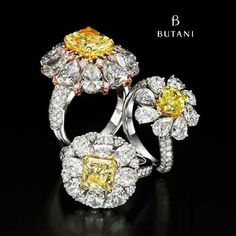 Let your fingers do the talking with #Butani #rings #cocktailrings #fancyyellow #butanibling #diamonds