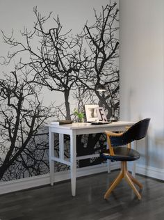 Great little home office space! Branches wall murals - wallpaper | Rebel Walls