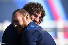 Italy's back row Mauro Bergamasco (R) and Italy's hooker Davide Giazzon are pictured as they take part in a team training session at Cobham RFC, west of London, on September 30, 2015, during the 2015 Rugby World Cup.