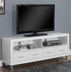 Monarch Specialties White Hollow-Core TV Console with 4 Drawers, Bring convenient media storage to your home with this contemporary pure white TV White Tv Stands, Cool Tv Stands, Living Room Tv Unit, Living Room Decor, Muebles Rack Tv, 60 Tv Stand, Flat Panel Tv, Tv Consoles, Tv Cabinets