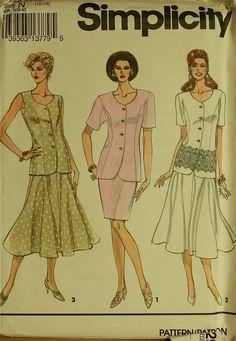 "Dress, Two-Piece - 1990's -  Simplicity Pattern 8295  Uncut   Sizes 10-12-14  Bust 32.5-34-36"""