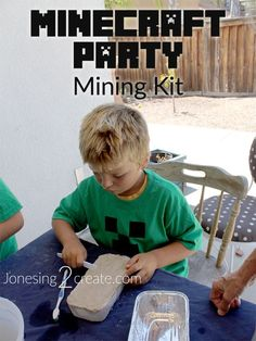 For only $3, you can make a mining kit with real gem stones for the kids to dig out at the party. Love this idea for a Minecraft Birthday Party game!