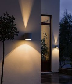 Architectural outdoor lighting for up and down visual effects in the garden. For accent lighting or just something a little different. Lighting Styles - The Modern Lighting Company Modern Landscape Lighting, Modern Lighting, Lighting Design, Exterior Lighting, Outdoor Wall Lighting, Outdoor Walls, Exterior Wall Light, Luminaire Mural, Luminaire Design