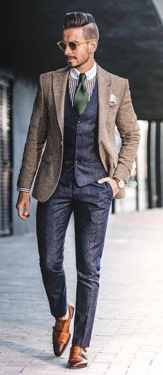 d2f283c4ee03 @whatmyboyfriendwore - with a navy waistcoat navy trousers green striped  club collar shirt brown blazer · Moda DopeModa Da ...