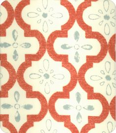 vintage tiled; coral and blue    lewis and sheron, lsfabrics