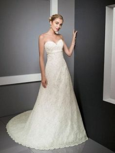 A-line Sweetheart Embroidery Beading Lace Court Train Wedding Dress