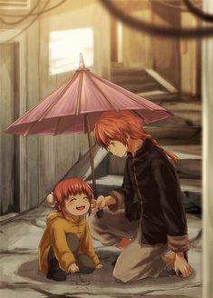 Kamui and Kagura Yato - Gintama Manga Anime, Anime Chibi, Kawaii Anime, Anime Art, Anime Siblings, Anime Couples, Kamui Gintama, Anime Family, Okikagu