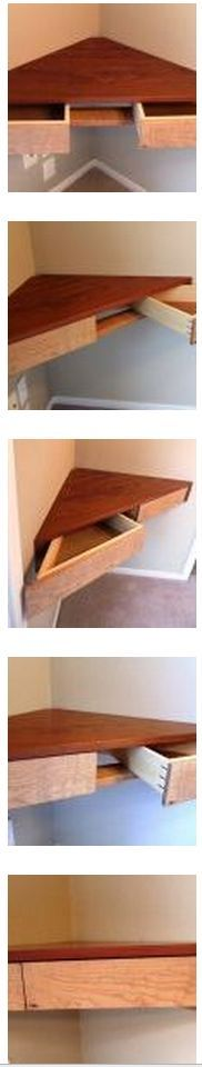 This mini-desk lets you work in a tight corner space | Floating Corner Shelf With Drawers - Fine Woodworking | #DIY Tiny Homes