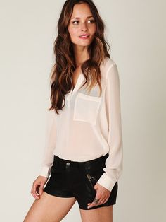 Free People FP Vegan Leather Shorts at Free People Clothing Boutique - StyleSays White Chiffon Blouse, Leather Shorts, Facon, Short Outfits, Summer Outfits, Vegan Leather, Fashion News, Ideias Fashion, What To Wear