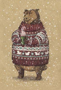 Бурый мишка в свитере и с кружкой