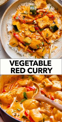 Thai Red Curry Vegetable Red Curry Recipe, Curry Recipes, Asian Recipes, Healthy Gluten Free Recipes, Easy Delicious Recipes, Vegetarian Recipes, Curry Ingredients, Simply Recipes, Weeknight Meals
