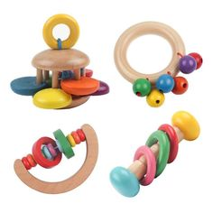 Toys 1 pc Kid Wooden Bell Rattles