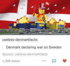 Denmark declaring war on Sweden. Hetalia Tumblr Posts.
