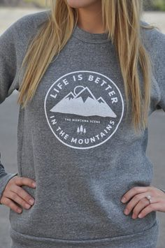 Life is Better in the Mountains, isn't that the truth!? The perfect fleece to show your love for Montana and the mountains. It's insanely soft, warm and perfect for men and women! ** Sizing is unisex