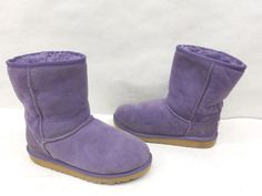 UGG Australia Big Girls 5251 Classic Short Purple Suede Pull On Snow Boots Sz 4 #UGGAustralia #SnowBoots