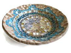 Brown and Turquoise Mosaic Plate- Margalita Mosaic Art