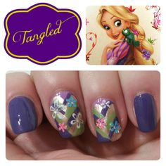 If you love fairly tales, nail designs, and just overall awesomeness, you're going to love these Disney princess nail designs! Princess Nail Designs, Disney Princess Nails, Disney Nails, Princess Rapunzel, Disney Makeup, Disney Rapunzel, Tangled Rapunzel, Princess Art, Disney Princesses