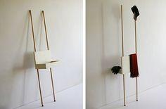 Porter wardrobe, shelf and side table by Martin Holzapfel. Fine Furniture, Wooden Furniture, Furniture Design, Intelligent Design, Closet Bedroom, Wood Design, Ladder Decor, Shelving, Diy Crafts