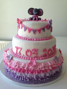 Princess cake with ruffles, Elephant and flags ☺️