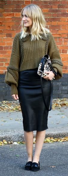 How to match olive knitwear   Image via blameitonfashion.freshnet.com