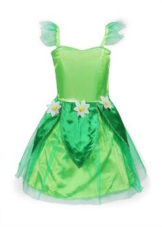 ReliBeauty Girls Tinkerbell Dress Costume (2T-3T, Green)